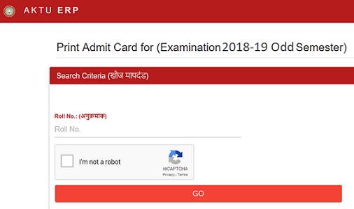 AKTU Odd Sem Admit Card 2018-19